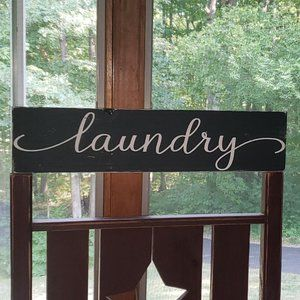BRAND NEW Handmade B&W LAUNDRY Wooden Sign